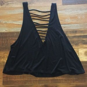 NWT Lucy Love ladder front black tank top Lg